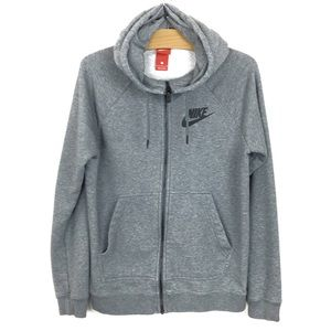 Nike Hoodie Zip Up Grey Sweatshirt Drawstring S
